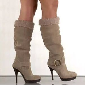 Guess Edesia Suede Faux Fur Slouchy Boots Heels